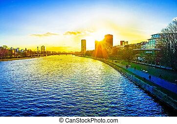 FRANKFURT, HESSE - February 12 : River view of Frankfurt am...
