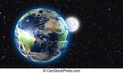 Earth and Moon in space