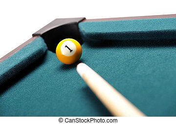 number one - billiard ball with number one in the hole