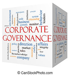 Corporate Governance 3D cube Word Cloud Concept with great...