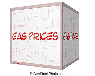 Gas Prices Word Cloud Concept on a 3D cube Whiteboard with...