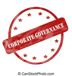 Red Weathered Corporate Governance Stamp Circle and Stars -...