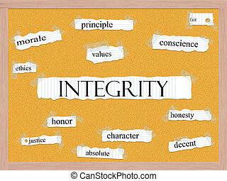 Integrity Corkboard Word Concept with great terms such as...