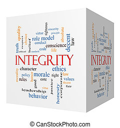 Integrity 3D cube Word Cloud Concept with great terms such...