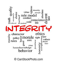 Integrity Word Cloud Concept in red caps with great terms...