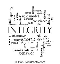 Integrity Word Cloud Concept in black and white with great...