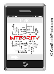 Integrity Word Cloud Concept on Touchscreen Phone