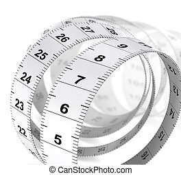 Weight Care Background - Tape Measure - Close up of a tape...