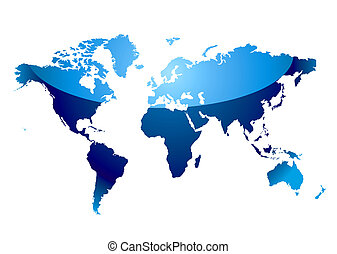 world map reflect blue - Modern blue world map with light...