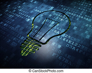 Business concept: Light Bulb on digital screen background -...
