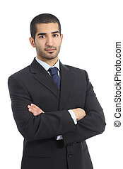 Arab business confident man posing with folded arms isolated...