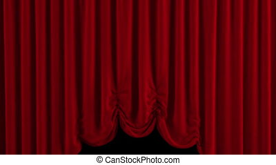 Red Austrian curtain opens - Curtain opens With alpha...