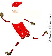 cartoon running santa