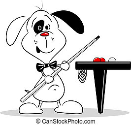 Cartoon Dog holding a Cue - A cartoon dog with a snooker cue...