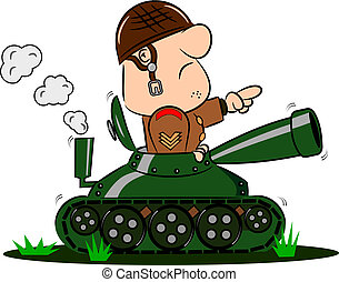 Cartoon Soldier in Army Tank - A cartoon army soldier in the...
