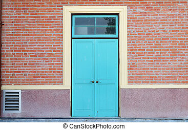 blue wood door and brick wall - blue wooden door and brick...
