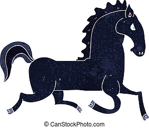cartoon running black stallion