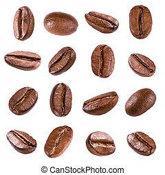 café, frijoles, blanco, aislado