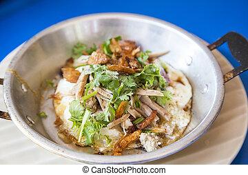 cacerola, huevo, desayuno, asiático, alimento