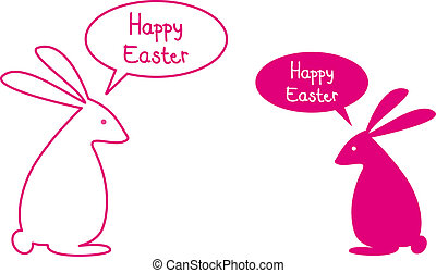 Happy easter card with pink bunnies