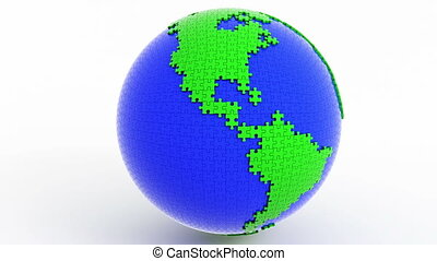 Rotating isolated globe (earth)