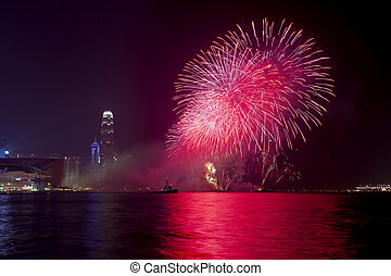 Hong Kong Chinese New Year fireworks 2014 - HONG KONG -...