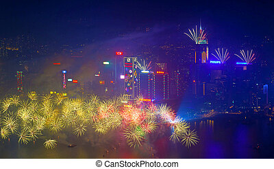 Hong Kong fireworks 2014 - HONG KONG - JANUARY 1: A splendid...