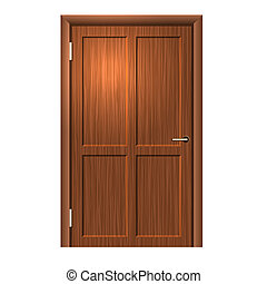 Realistic Wood door. Vector - Realistic Wood door on white...