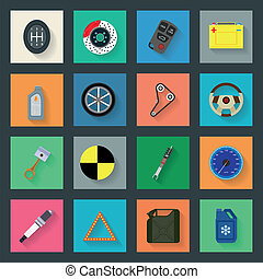 Auto service flat icons set vector graphic illustration
