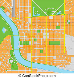 Imaginary City Vector Map - Vector illustration of an...