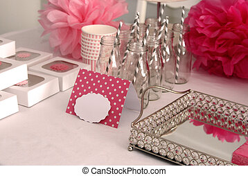 Girl baby shower table decorations in pink