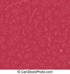 Warm colors seamless background with birds and flowers