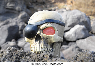 Pirate Skull - One Pirate Skull with Red Eye and a Patch