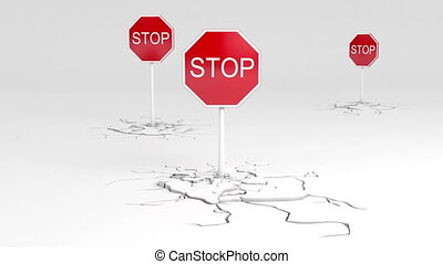 Caution STOP - 3d stop sign animation Two versions - with...