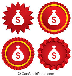 Money bag sign icon. Dollar USD currency. - Money bag sign...