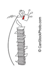 jump - joe, the businessman jumps over a stack of paper