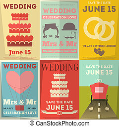 Wedding Posters Set. Retro Wedding Invitation in Flat Design...