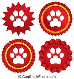 Dog paw sign icon. Pets symbol. Red stars stickers....