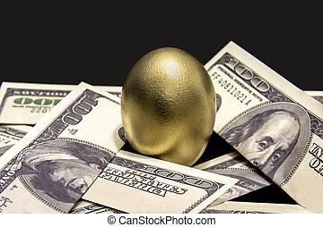 Nest Egg - Gold egg with fake cash