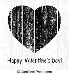 Black Grunge Wooden Valentine
