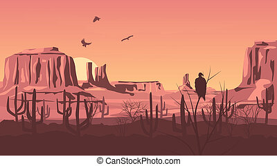 Prairie wild west - Horizontal cartoon illustration of...