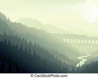 Coniferous wood in morning fog - Vector illustration of...