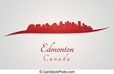 Edmonton skyline in red and gray background in editable...