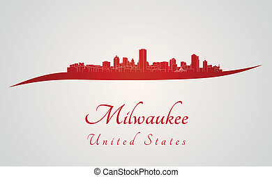 Milwaukee skyline in red and gray background in editable...