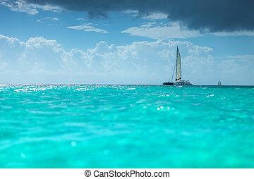 catamaran, Caraíbas, bote, mar