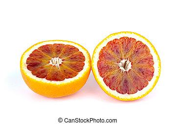 Blood (red-pulp Malta) orange sliced on halves isolated on...