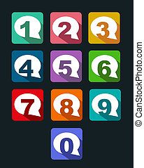 flat icons bubble conversation numbers with long shadow