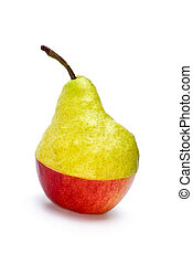 "Half-Aple-and-half-pear ""hybrid\"" isolated on the white..."