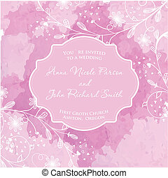 Wedding card on the grunge paper background