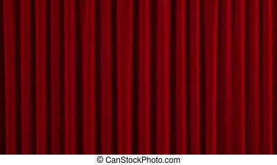 Red Austrian curtain opens - Curtain opens
